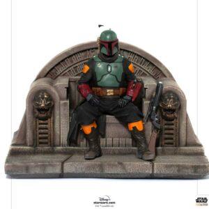 Star Wars The Mandalorian Estatua 1/10 Deluxe Art Scale Boba Fett on Throne 18 cm