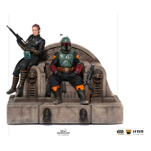 Star Wars The Mandalorian Estatua 1/10 Deluxe Art Scale Boba Fett & Fennec on Throne 23 cm